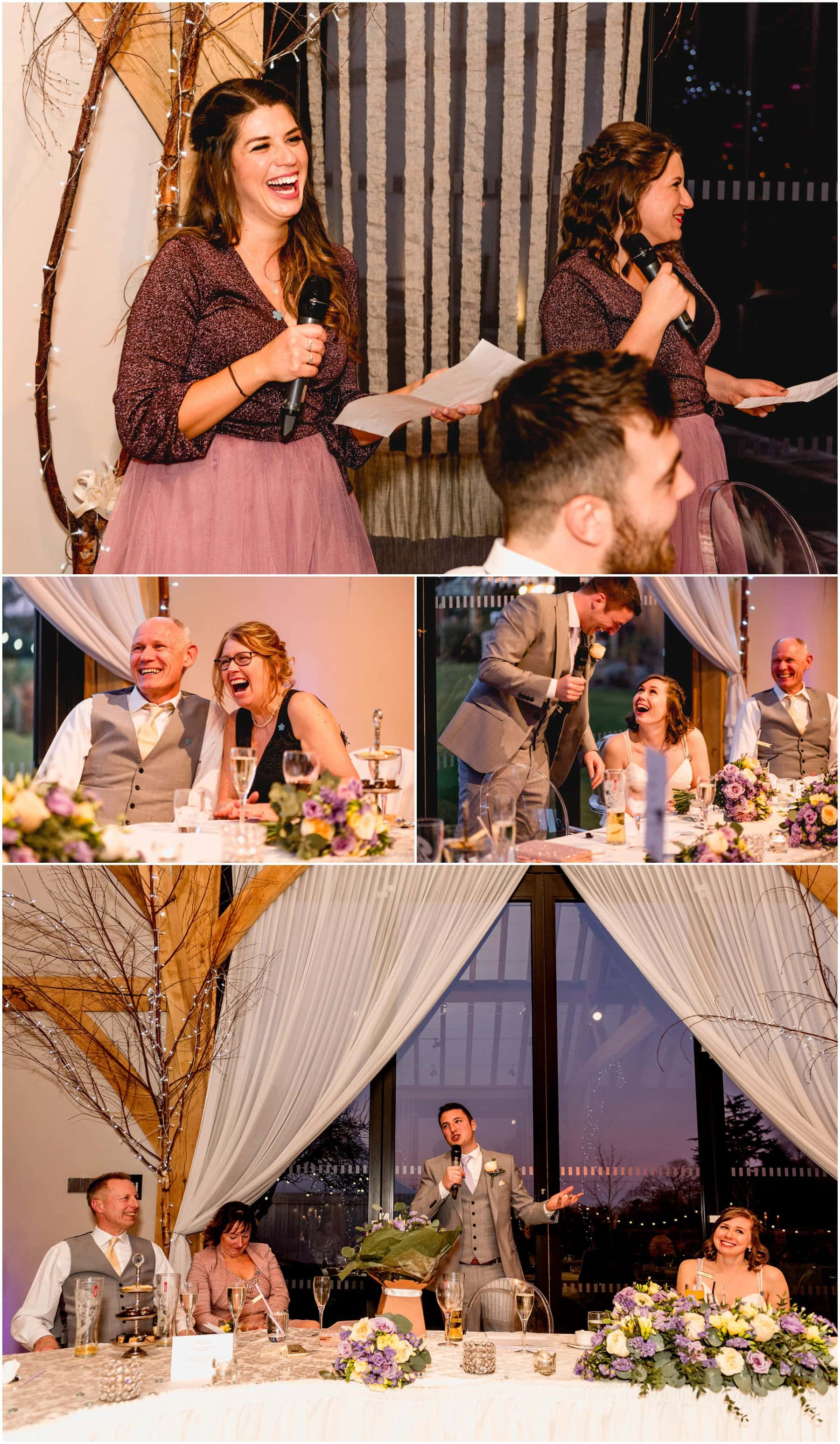 Candid photos from wedding speeches in Wedding breakfast room at Redhouse Barns