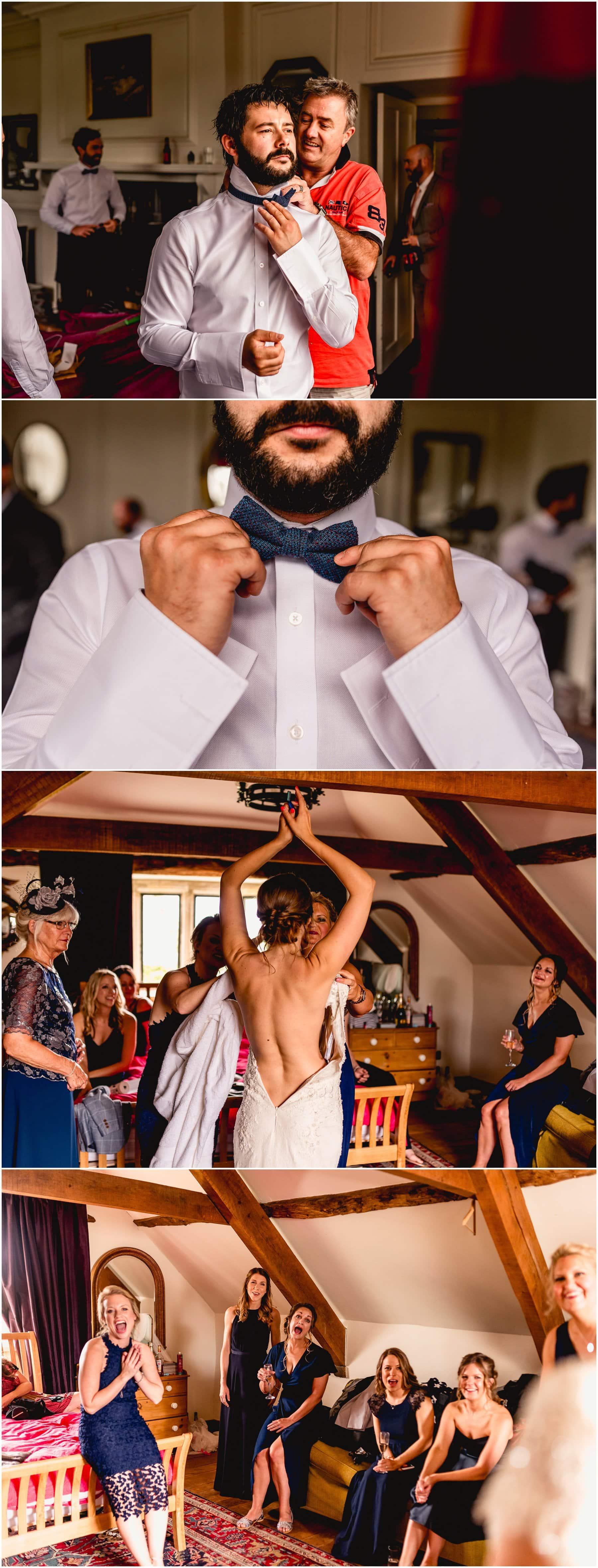 Bridal prep and groom prep photos at The Ash Barton Estate in Devon.
