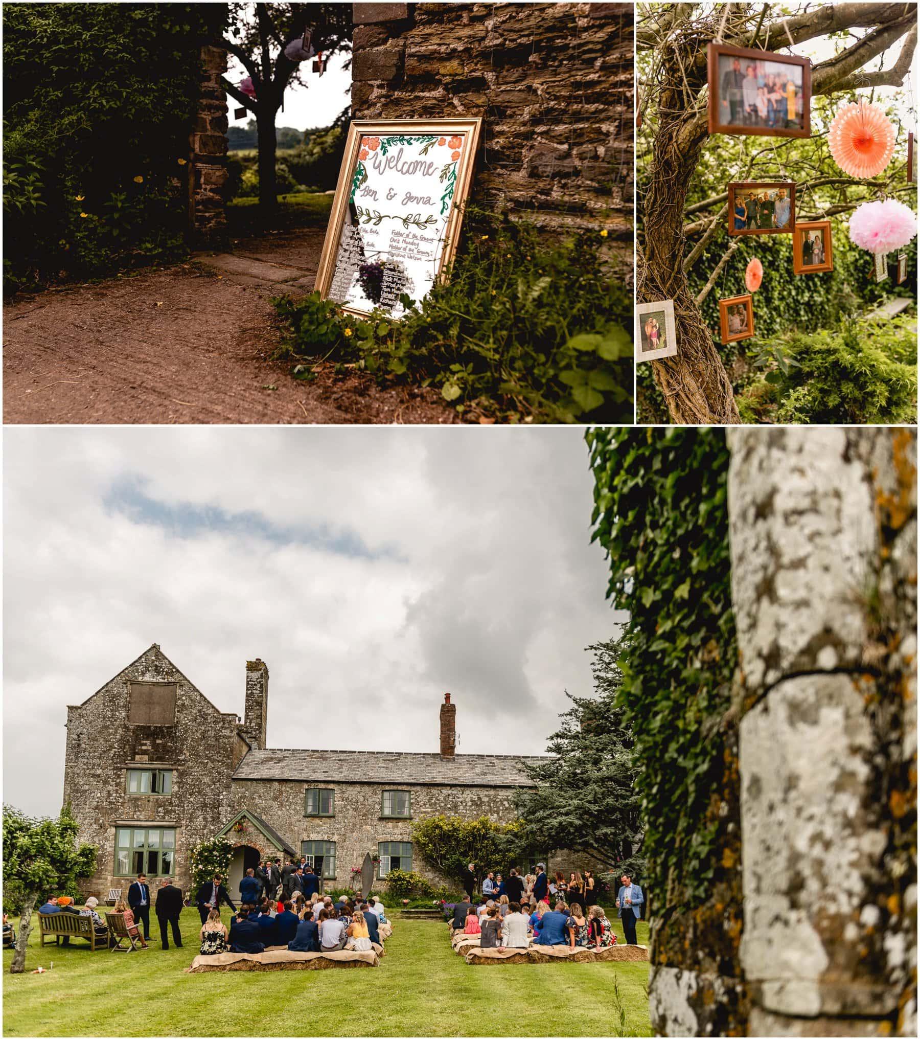 Exterior details before a wedding at The Ash Barton Estate in Devon.
