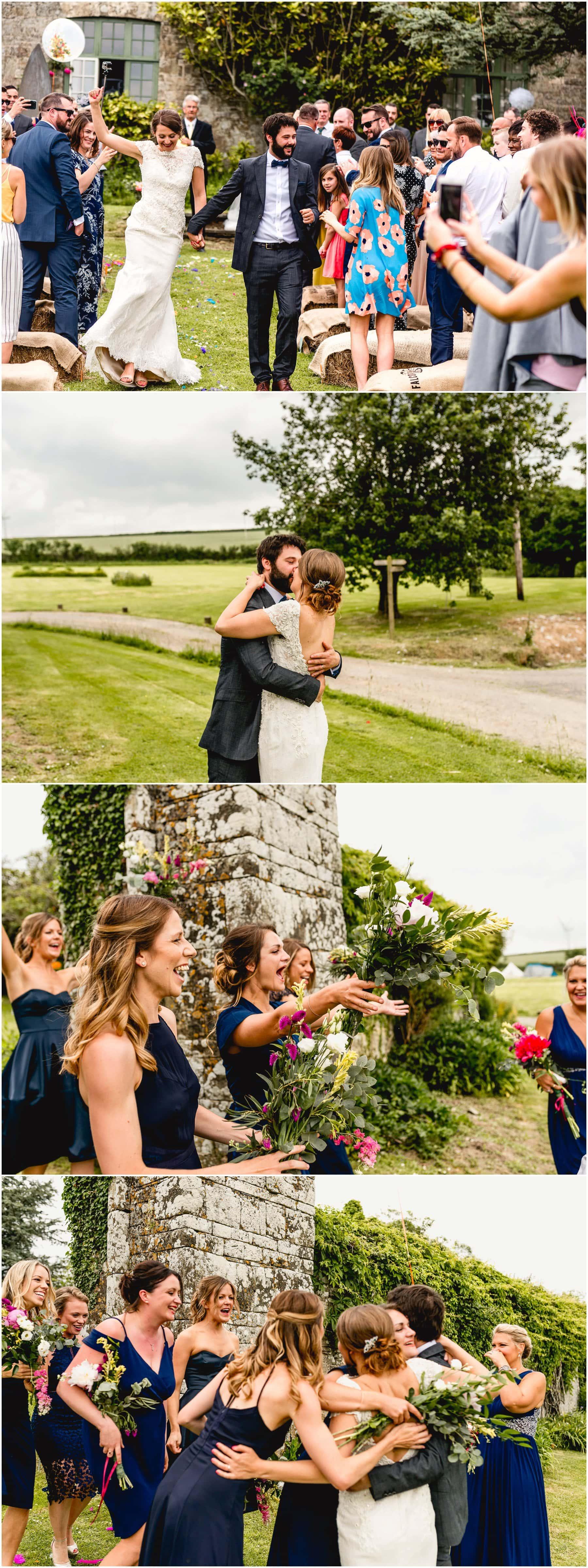 Celebration kisses after wedding ceremony.