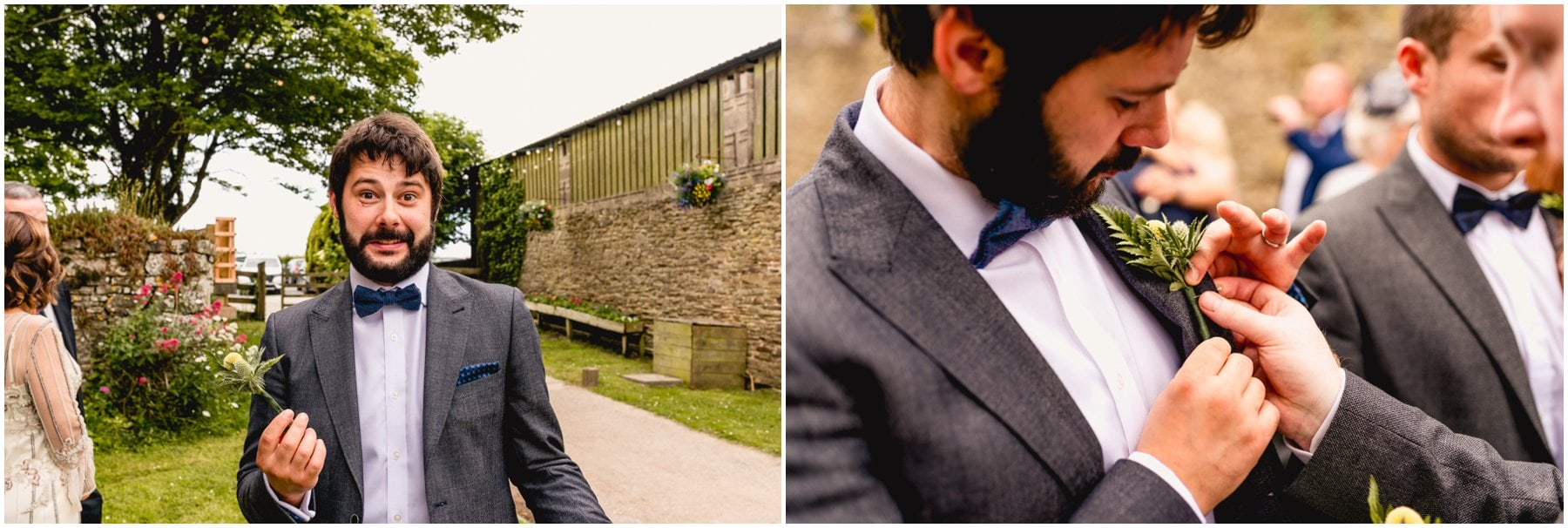 Groom putting on buttonhole.