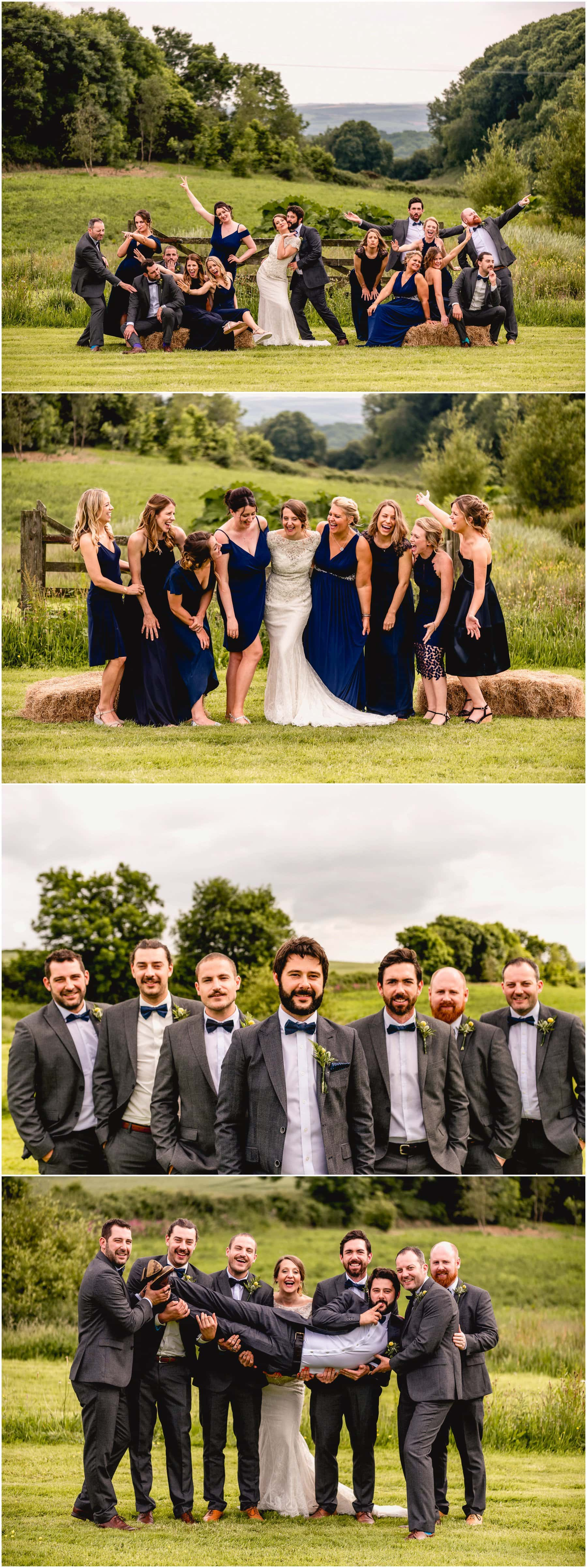 The bridal party, bridesmaids in blue and ushers and groomsmen in dinner jackets and bowtie celebrate at Ash Barton Estate in Devon.