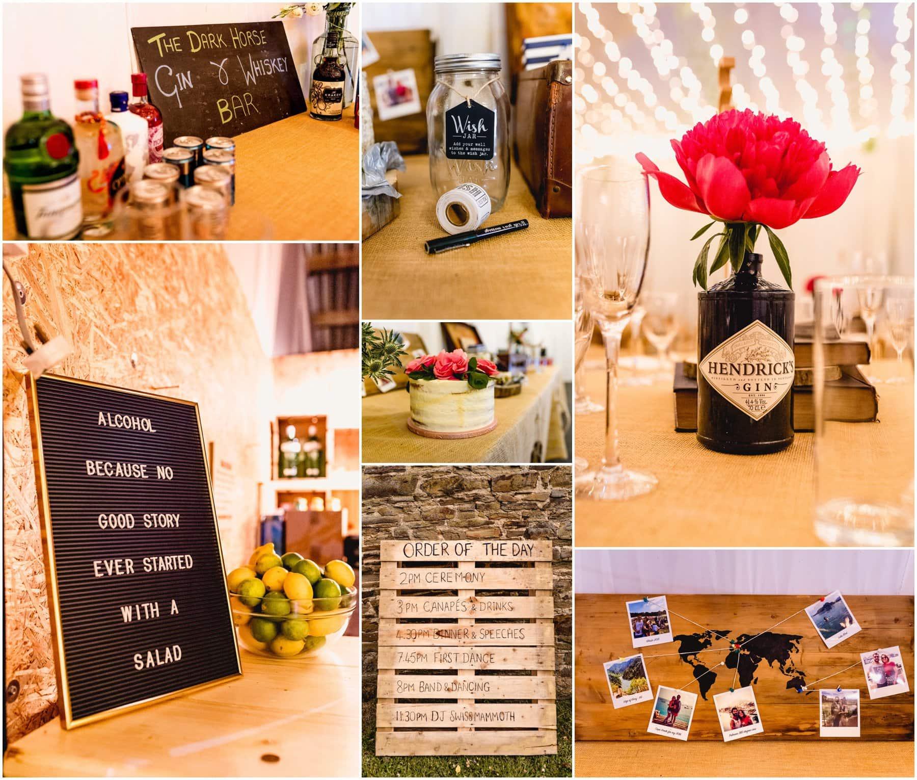 Details in the barn at Ash Barton Estate, wedding venue in Devon. Hendricks Gin bottle vases.