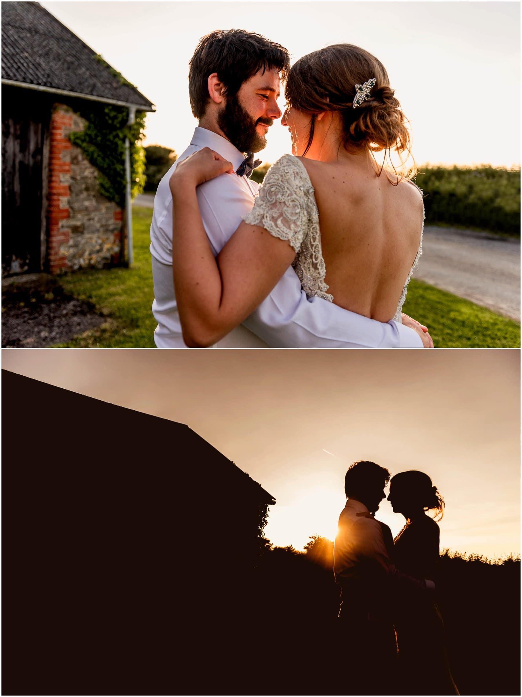 Golden hour photos of Jenna and Ben as the sun sets on their beautiful wedding in Devon.