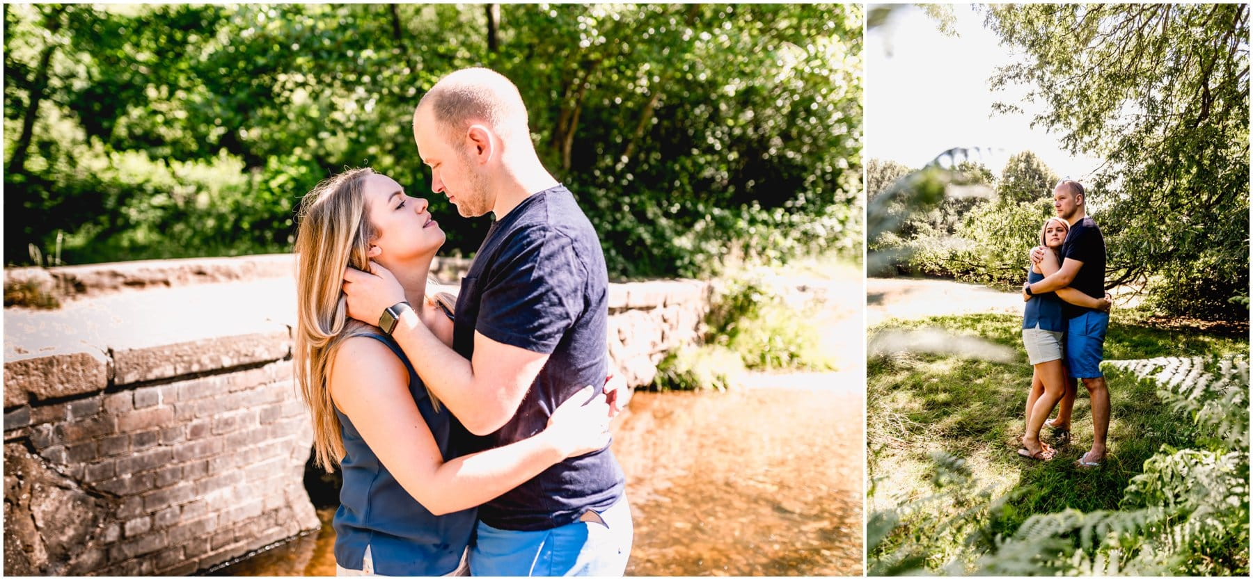 engagement shoot in Sutton Park in Sutton Coldfield with Sadie and James paddling in a stream