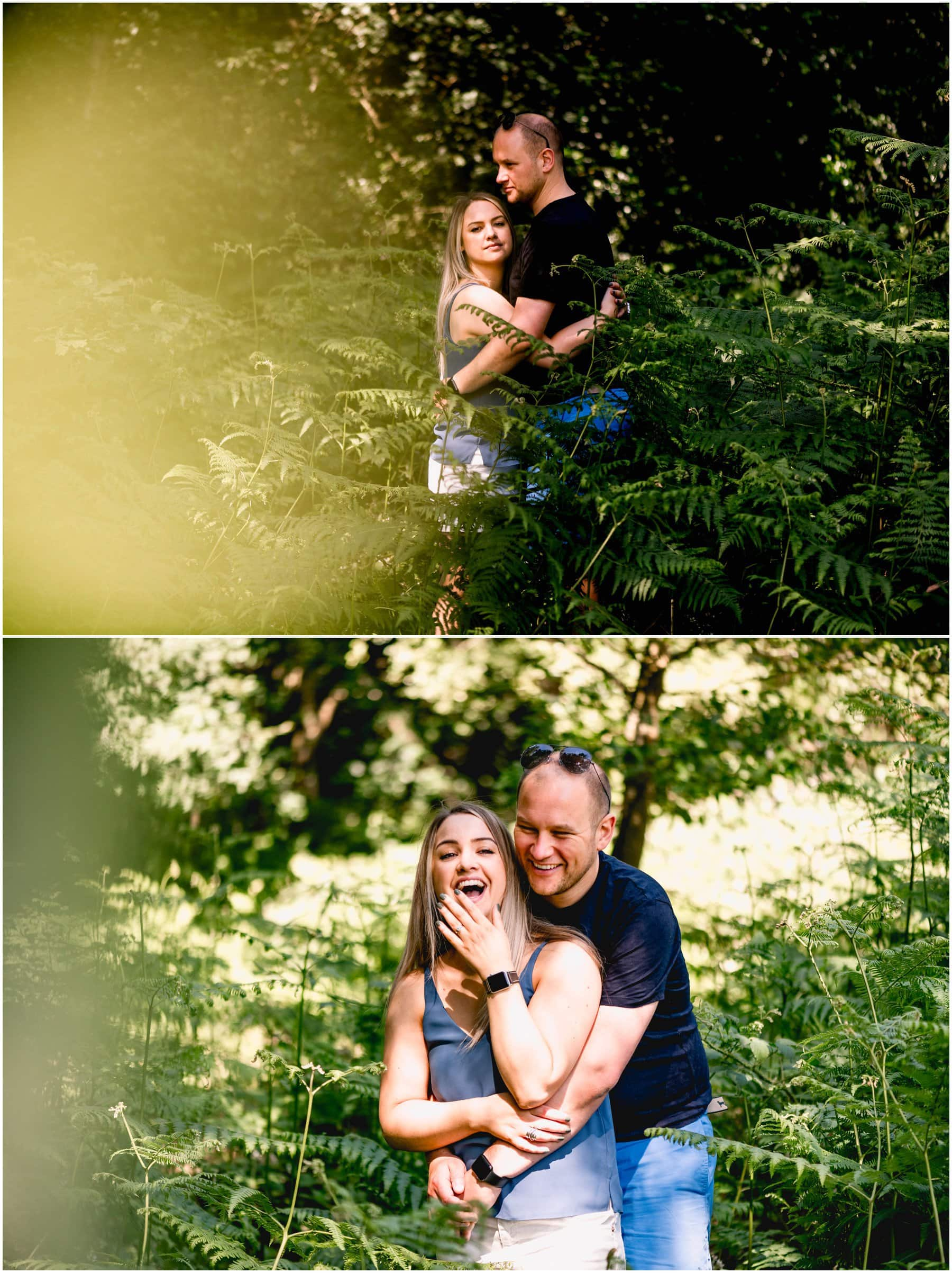 engagement shoot in Sutton Park in Sutton Coldfield with Sadie and James laughing and cuddling