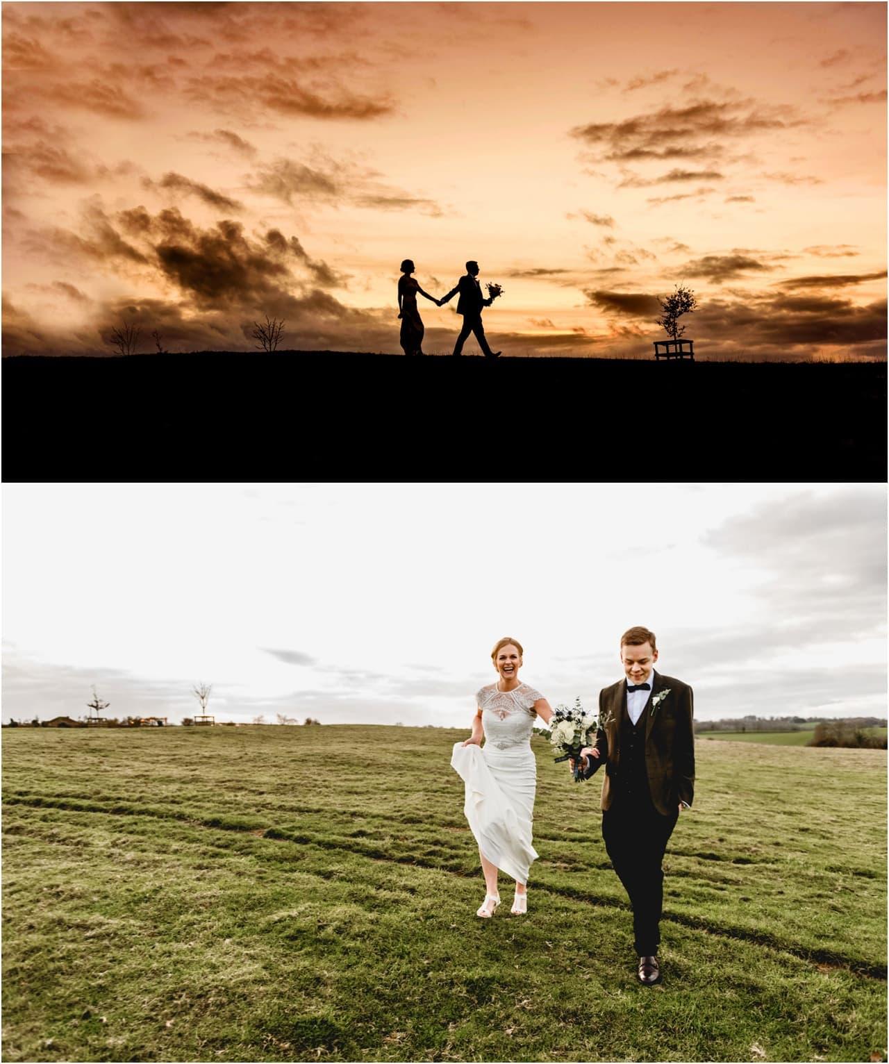 Bride And Groom Enjoying Amazing Sunset On A Beautiful: Dodford Manor Wedding - Katy And Josh